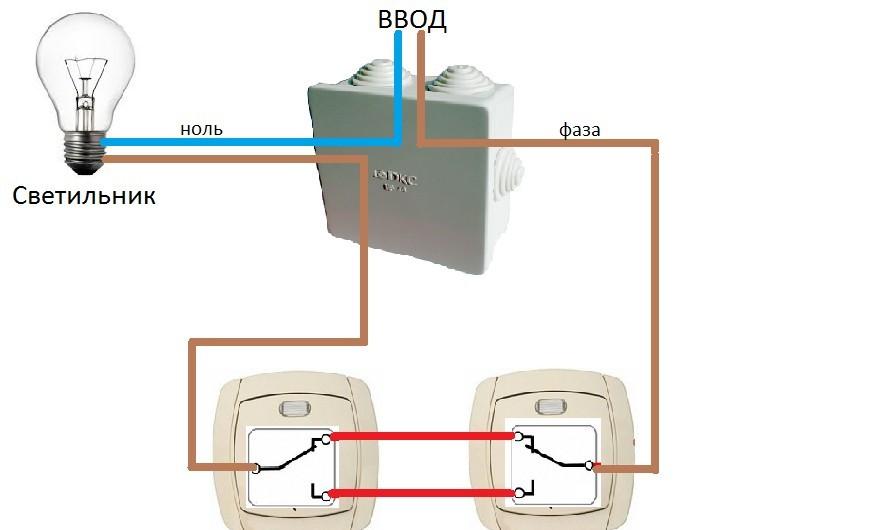 как поставить проходной выключатель