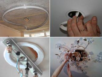 Как крепить потолочную люстру к натяжному потолку ...